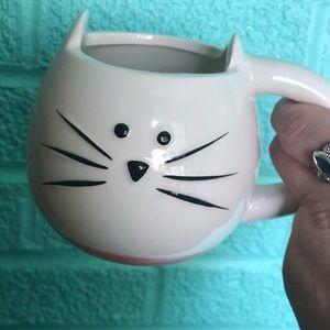 White with pink banner cat mug
